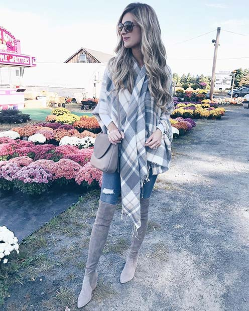 Szürke Tone Scarf, Bag and Boots for Cute Outfits to Copy This Winter