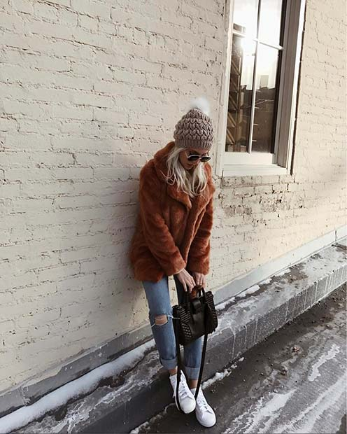 Meleg Brown Faux Fur Coat for Cute Outfits to Copy This Winter