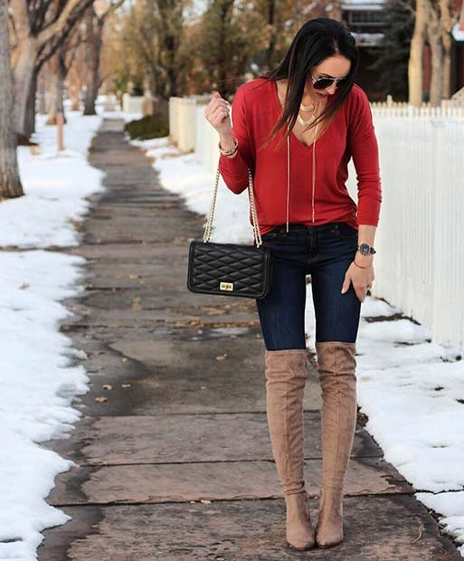 divatba jövő Red Top and Jeans for Cute Outfits to Copy This Winter