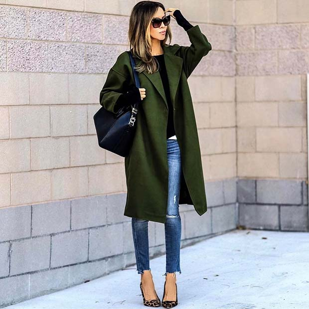 Elegáns Green Coat and Jeans for Cute Outfits to Copy This Winter