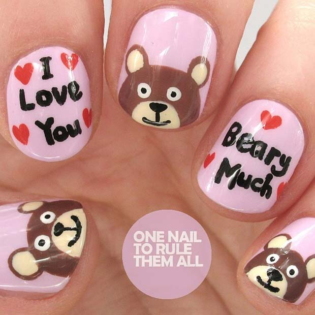 ผม Love You Beary Much Nail Art