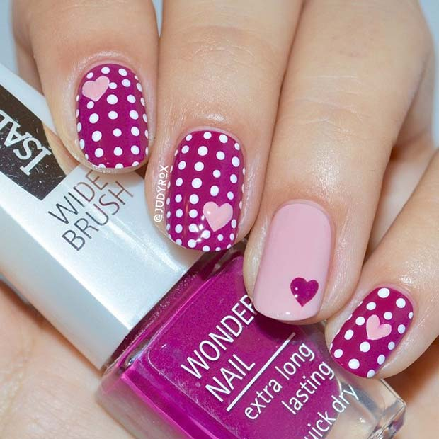 ฮาร์ทส์ and Polka Dots Nail Art