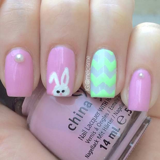 Пинк and Green Bunny Easter Nails