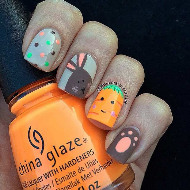 Бунни and Carrot Matte Easter Nail Design