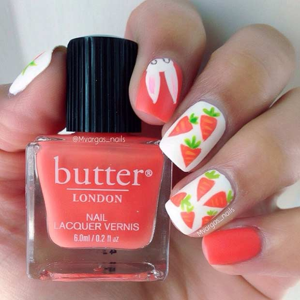Бригхт Red Easter Nail Design with Carrots