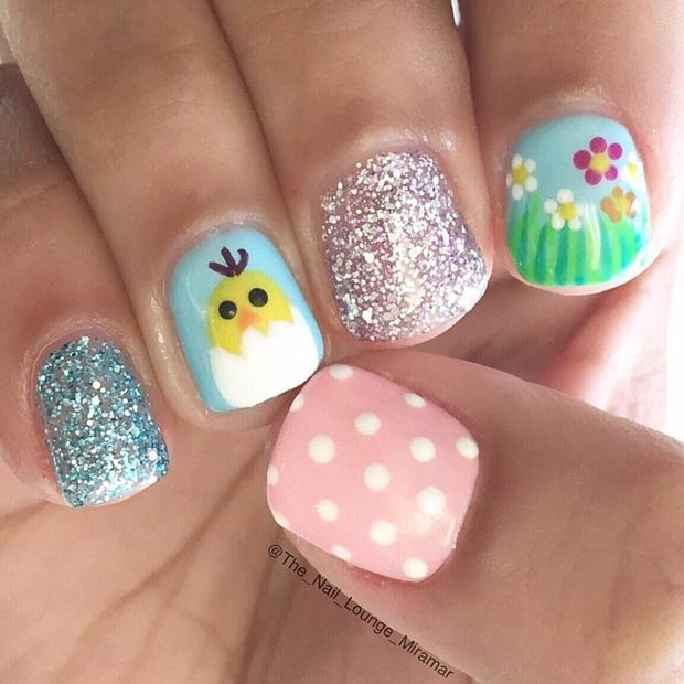 Слатко Easter Nail Design for Short Nails