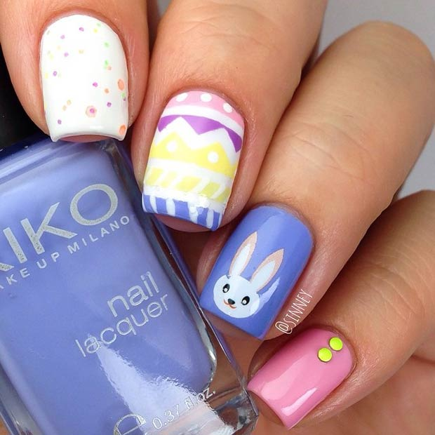 Разнобојан Rabbit Nail Art Design for Easter