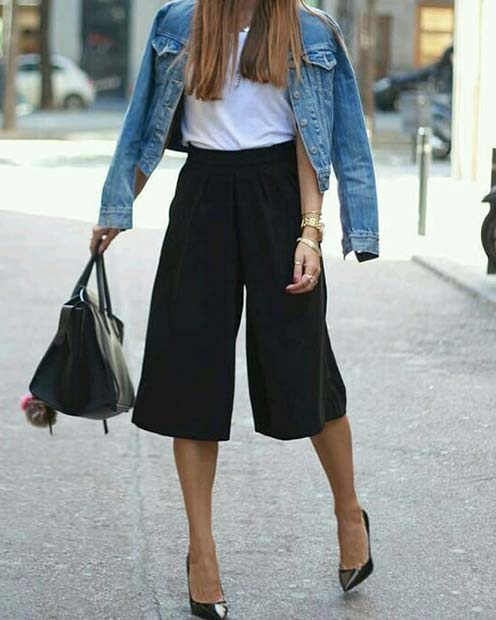 Trendig Black Culottes Outfit Idea for Work