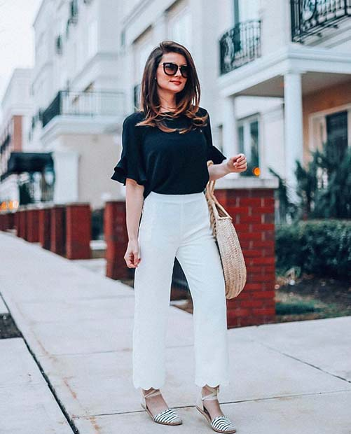 fehér Pants and Black Top Work Outfit