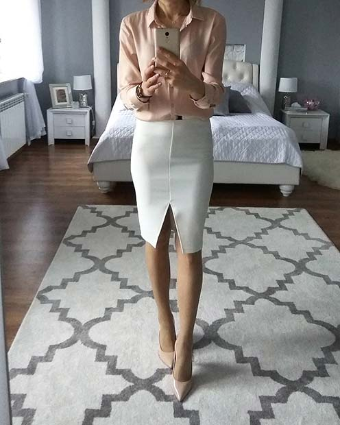 fehér Skirt Spring Work Outfit Idea