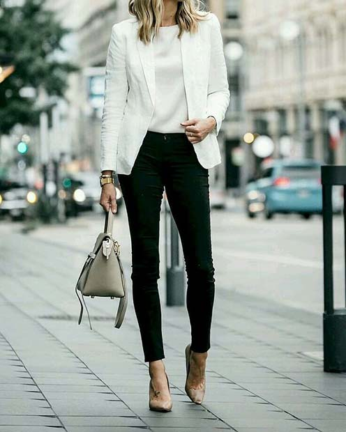 Egyszerű and Stylish White Jacket and Black Pants for Work
