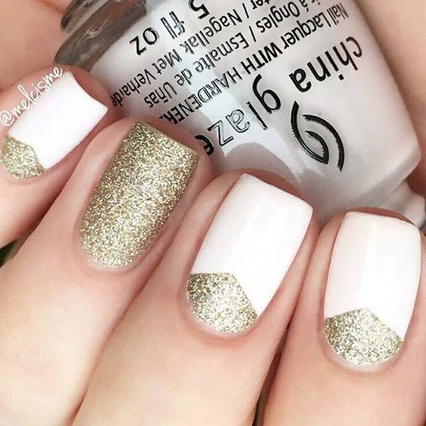 alb and Gold Glitter for Elegant Nail Designs for Short Nails