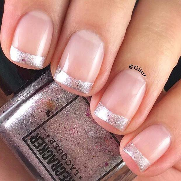 चांदी French Manicure for Elegant Nail Designs for Short Nails