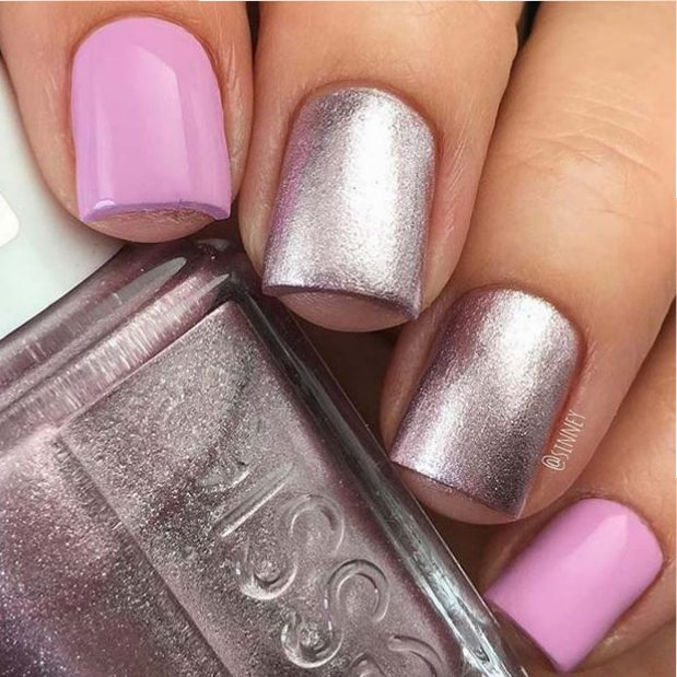Roz and Metallic Nails for Elegant Nail Designs for Short Nails