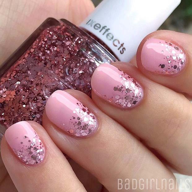 Ușoară Pink and Glitter for Elegant Nail Designs for Short Nails