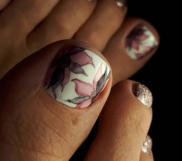 Елегантно Flower Toe Nail Design