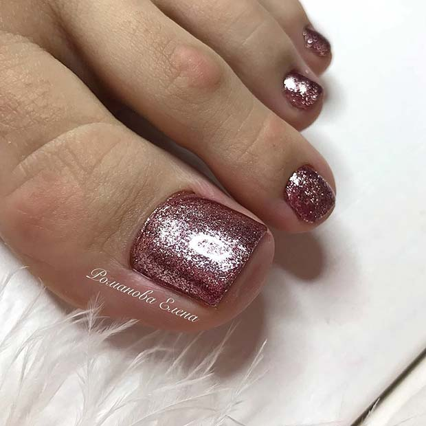 Једноставно, Pink Glitter Toe Nail Design