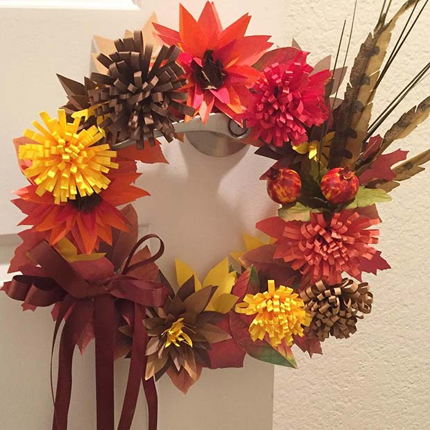 Papper Wreath for Thanksgiving Crafts