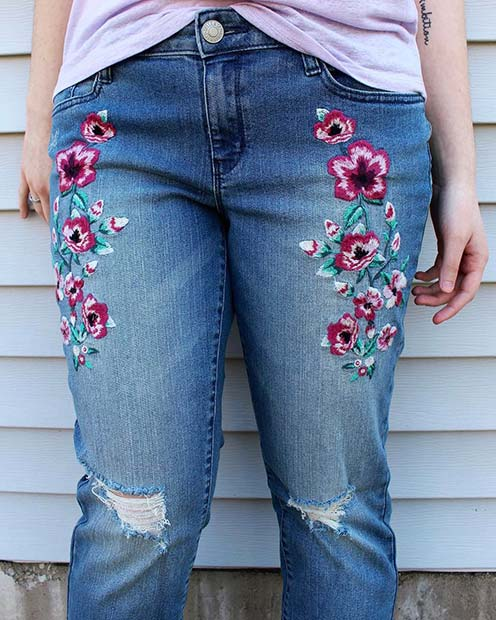 Флорал Embellished Embroidered Jeans