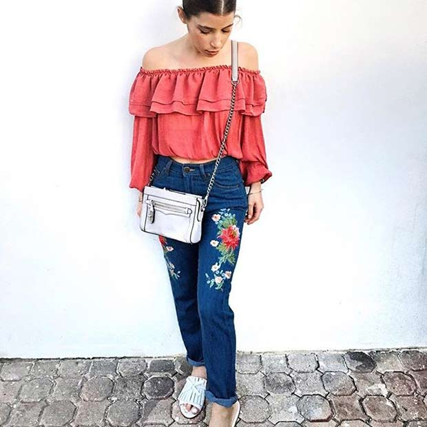 Везени Jeans with Ruffle Top