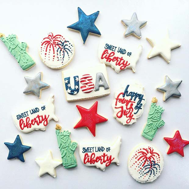 अमेरीका Cookie Designs for 4th of July Party Ideas