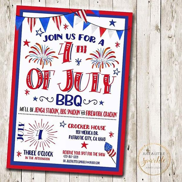4 of July Invitation for 4th of July Party Ideas