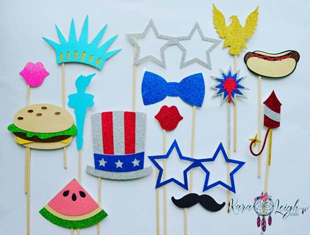 अमेरिका Themed Photo Booth Props for 4th of July Party Idea