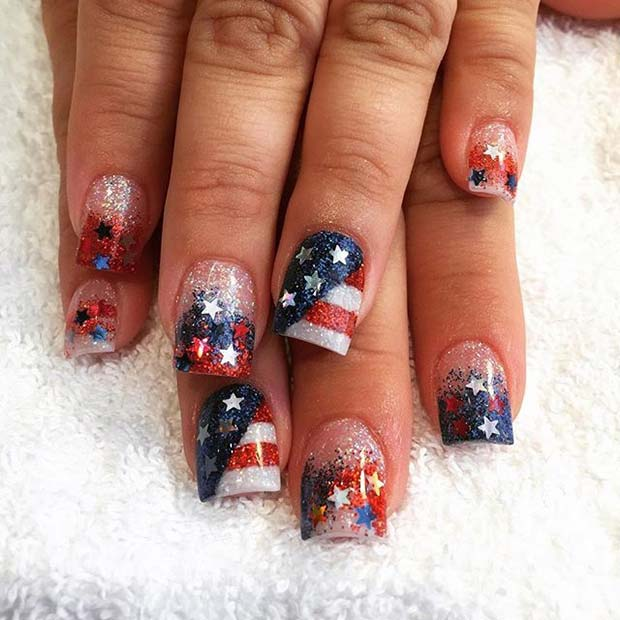 Glitter Flag and Stars for 4th of July Nail Design Idea