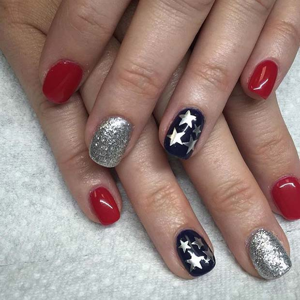 Lepo Star and Glitter Accent Nails for 4th July Nail Art Design Idea