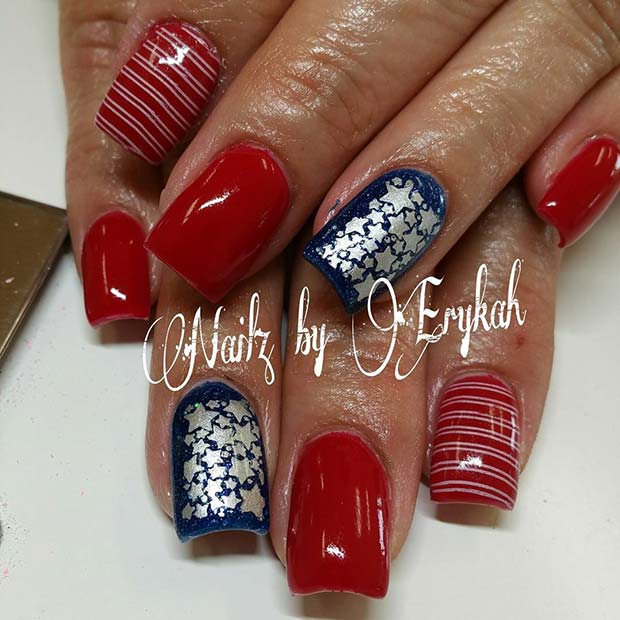 Omamljanje Stars and Stripes 4th of July Nail Design Idea