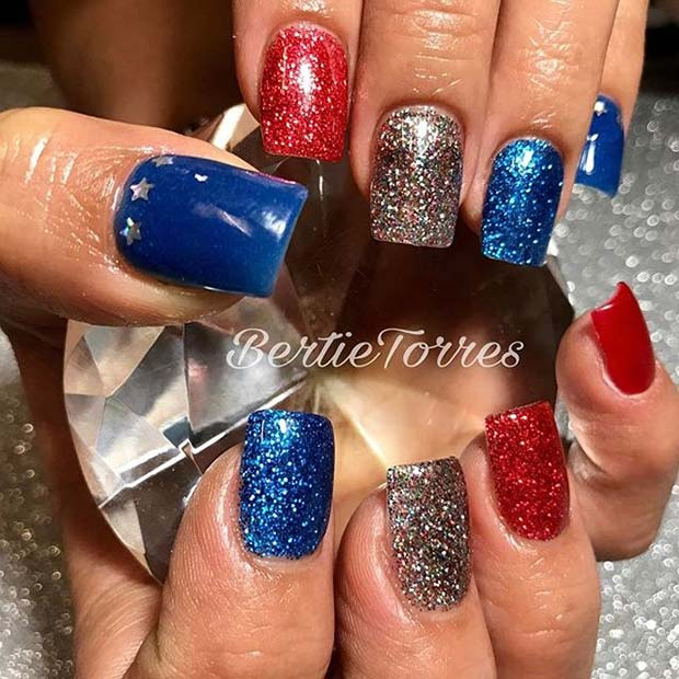 Rdeča, White and Blue Glitter for 4th July Nail Design Idea