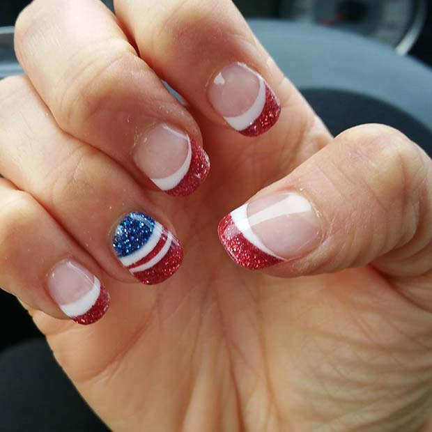 rdeča Glitter French Manicure with Flag Accent Nail for 4th of July