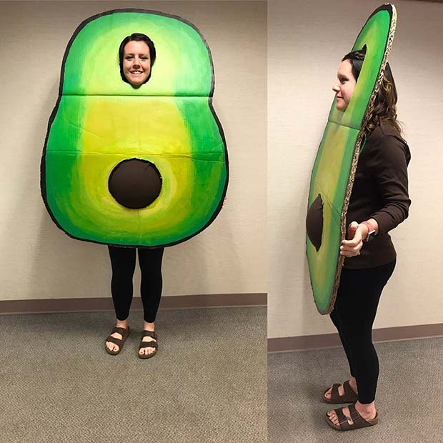 मजेदार Avocado Costume for Halloween Costumes for Pregnant Women