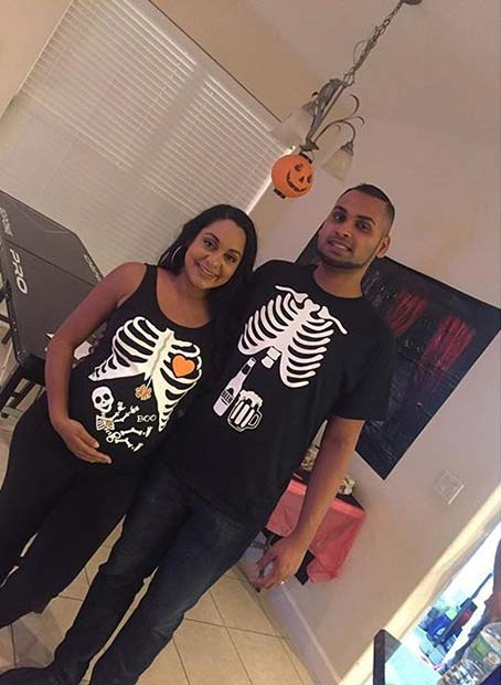 कंकाल Couples Costume for Halloween Costumes for Pregnant Women