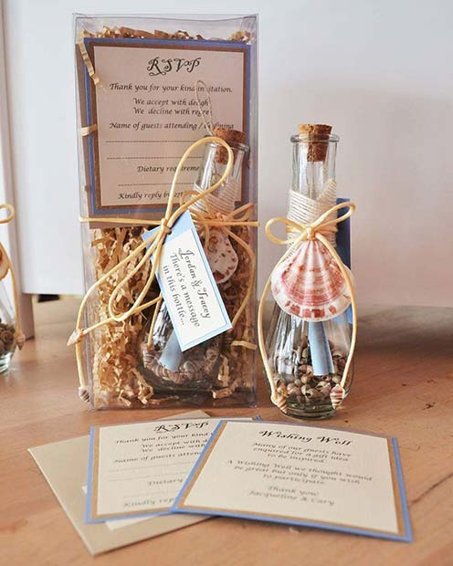 Strand Theme Message in a Bottle Invitation Ideas for a Beach Wedding