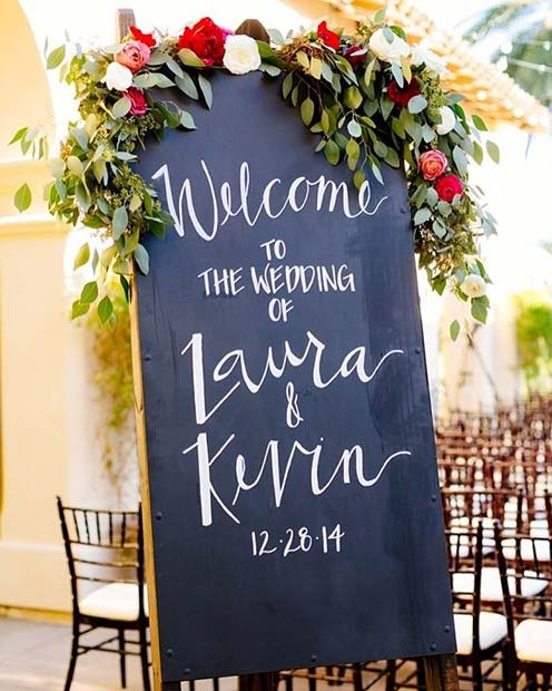 Blommig Welcome to the Wedding Board for Rustic Wedding Ideas