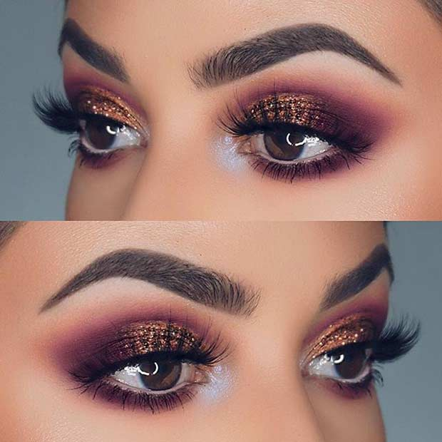 Vijolična and Bronze Glitter Eye Makeup Idea for Prom