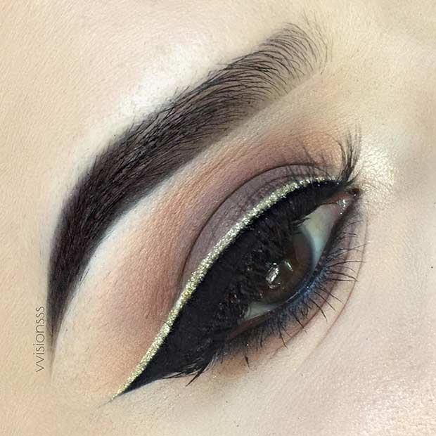 rjav Smokey Eye and Gold Glitter Eyeliner