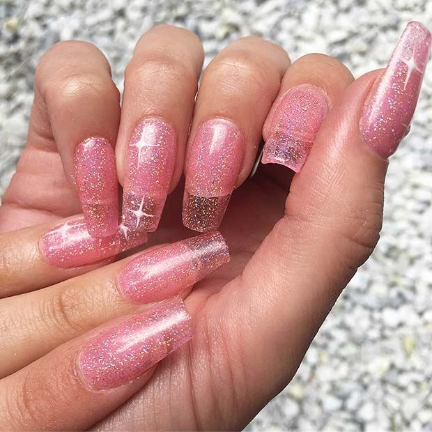 Ružičasta Glitter Jelly Nails