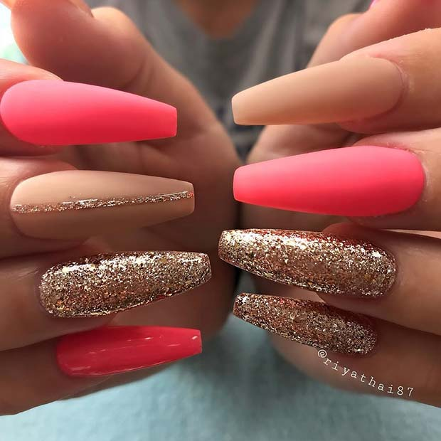 Parlak Pink Matte Coffin Nails for Summer