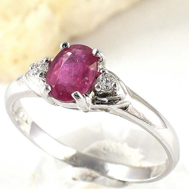 सुंदर Silver and Pink Engagement Ring
