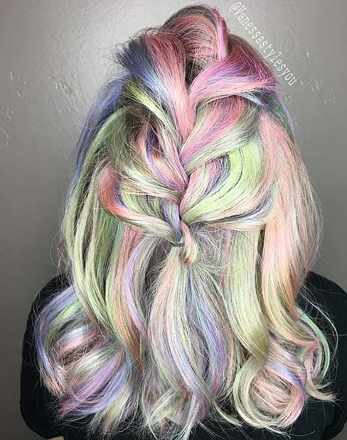 Раинбов Pastel Hair Color for Mid Length Hair