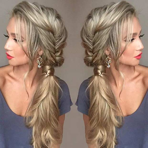 Fishtail Braid into a Side Ponytail Hairstyle
