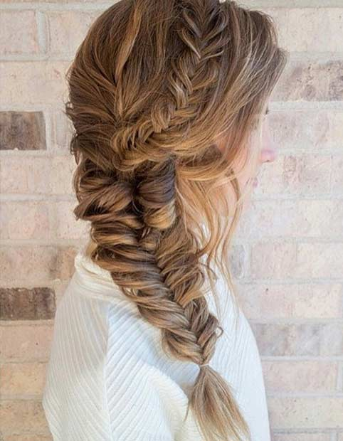 Fishtail Braided Prom Hairstyle