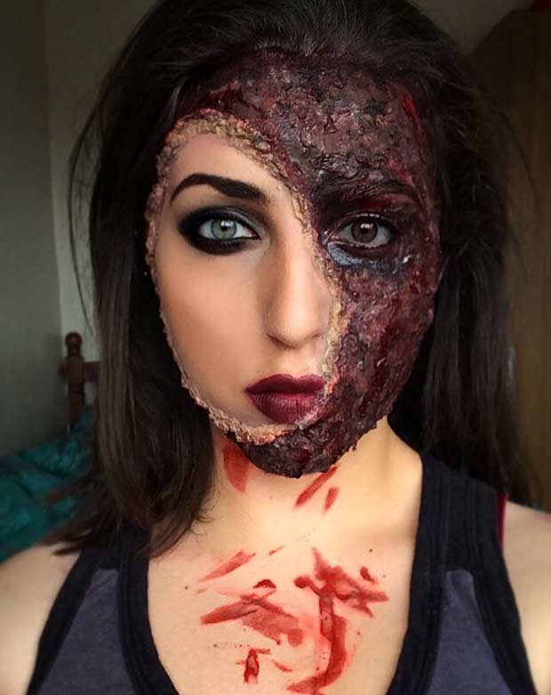 spaljen Face Scary Halloween Makeup Look