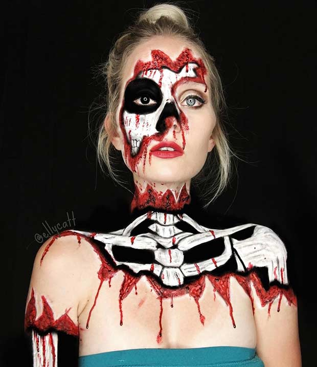 plašljiv Skeleton Halloween Makeup Look