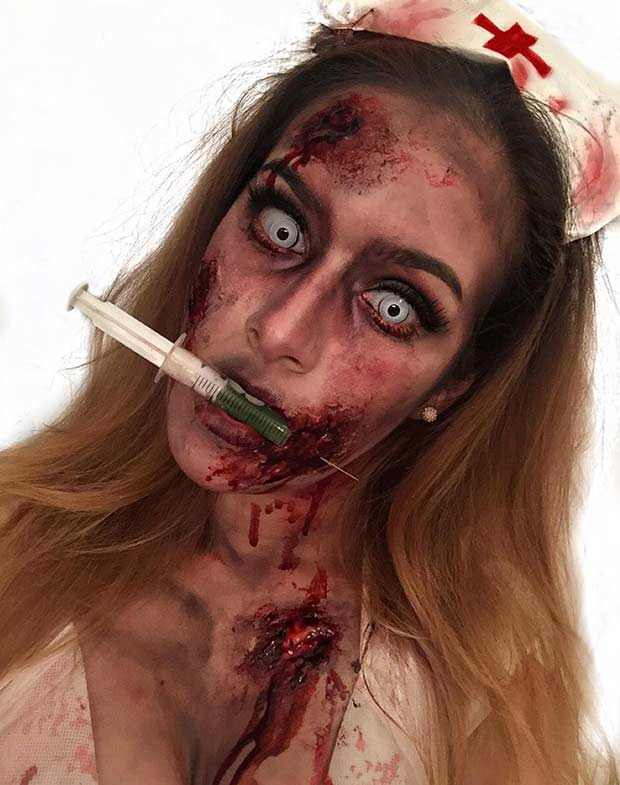 Zombi Nurse Scary Halloween Makeup Look