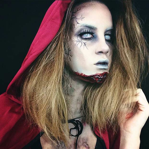 Zombi Red Riding Hood Halloween Makeup Idea