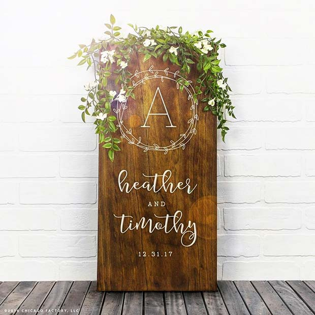 Brud and Groom Personalized Date Wall Sign for Spring Wedding