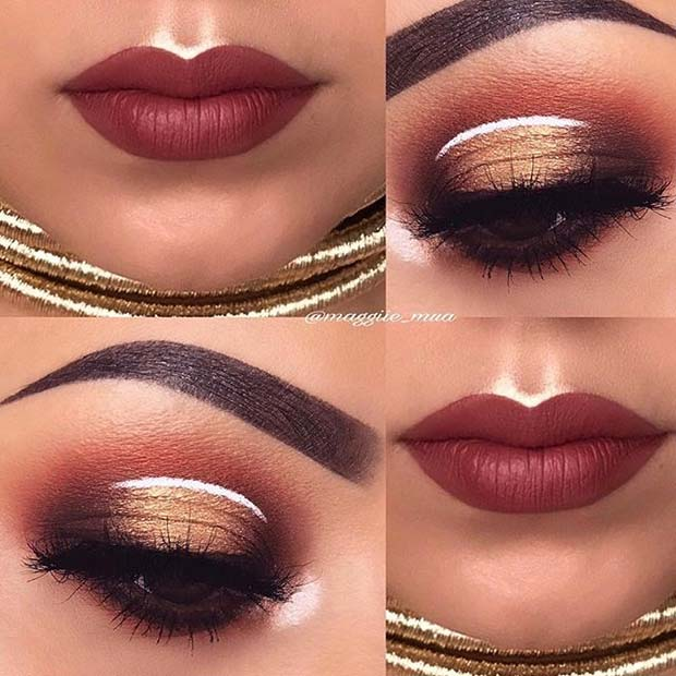 गरम Fall Eyes and Lips for Fall Makeup Looks